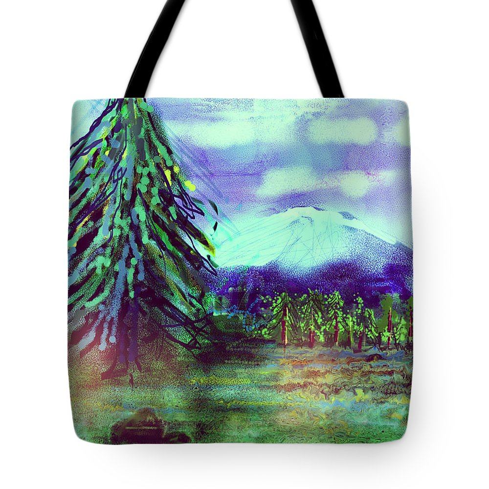 Tree Tote Bag featuring the digital art Something Left Behind by Arline Wagner