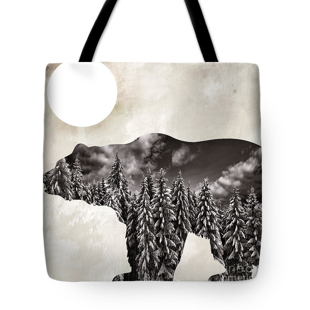 Bear Tote Bag featuring the painting Something Wild Bear by Mindy Sommers