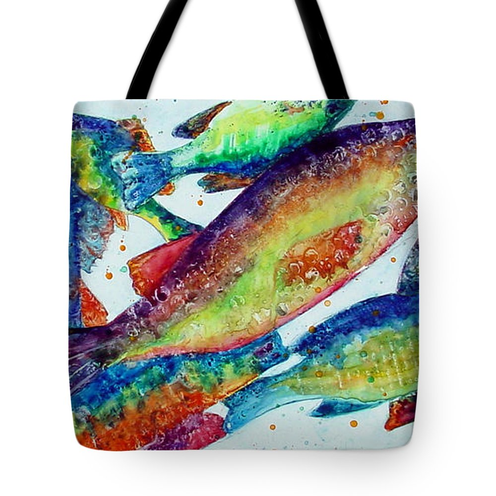 Fish Tote Bag featuring the painting Something's Fishy by Marsha Elliott
