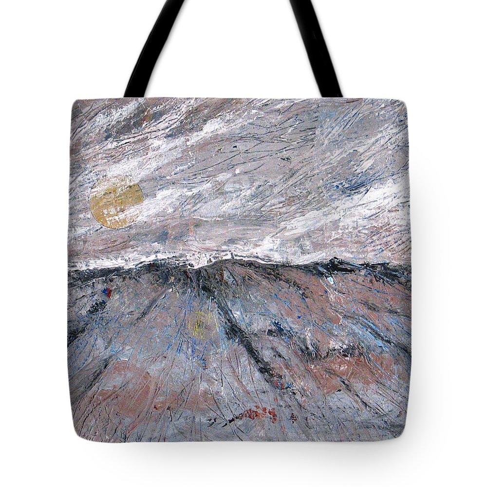 Mountains Tote Bag featuring the painting Somewhere Higher by Rollin Kocsis