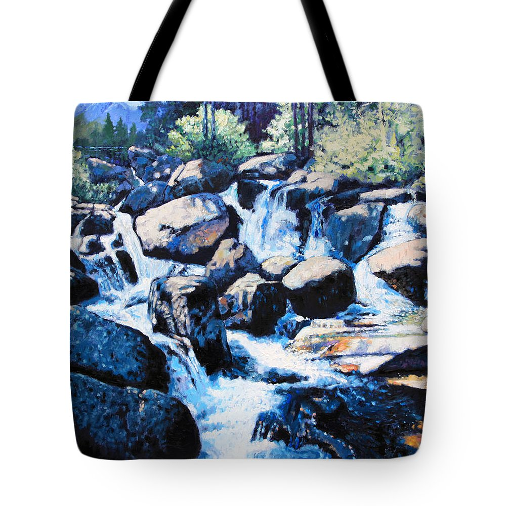 Rocky Mountains Tote Bag featuring the painting Somewhere in the Rocky Mountains by John Lautermilch