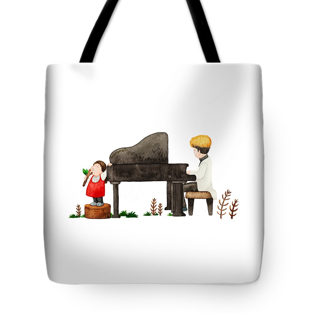 Warm Tote Bag featuring the painting Song For You by Annie Hwang