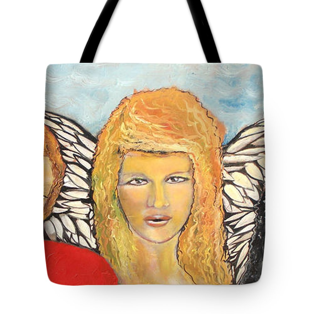 Angels Tote Bag featuring the painting Song of the Sisters by J Bauer
