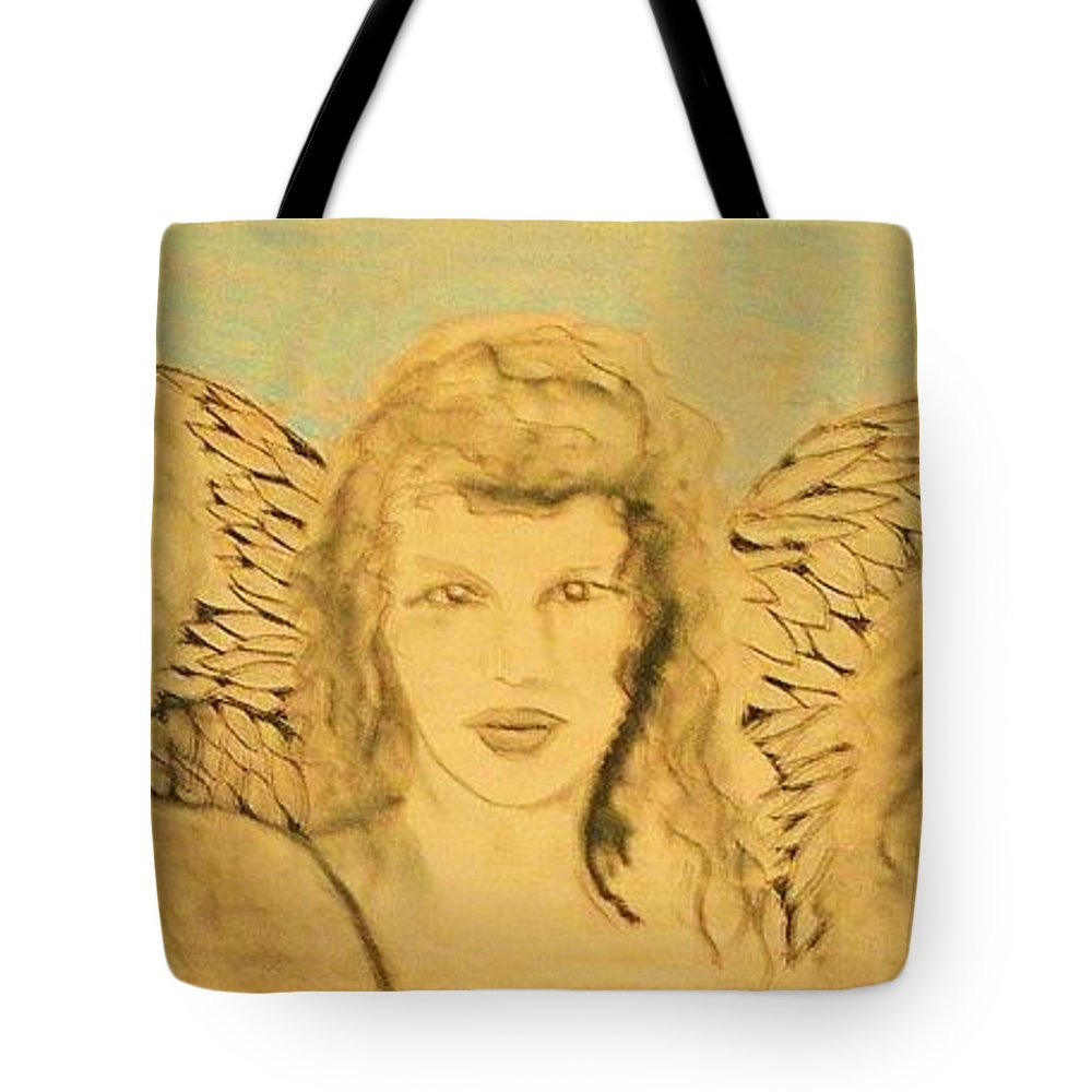 Angels Tote Bag featuring the drawing Song Of The Sisters Unfinished by J Bauer