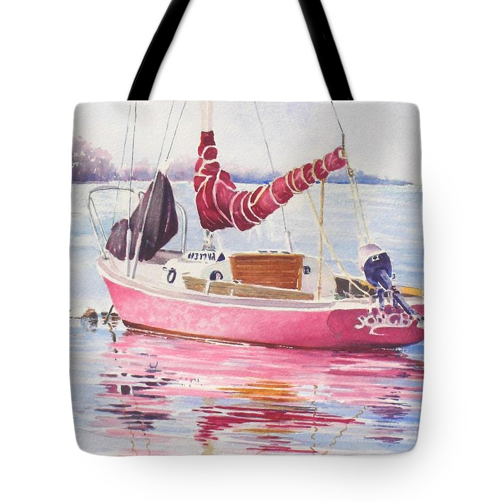 Sailboat Tote Bag featuring the painting Songbird At Rest by Tom Harris