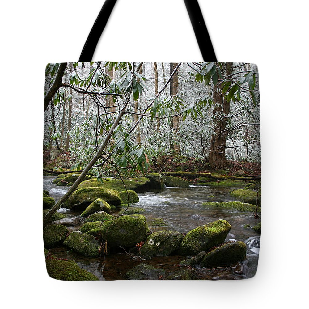 River Stream Creek Water Nature Rock Rocks Tree Trees Winter Snow Peaceful White Green Flowing Flow Tote Bag featuring the photograph Soothing by Andrei Shliakhau