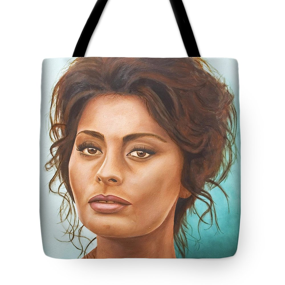 Moviestar Tote Bag featuring the painting Sophia Loren by Rob De Vries