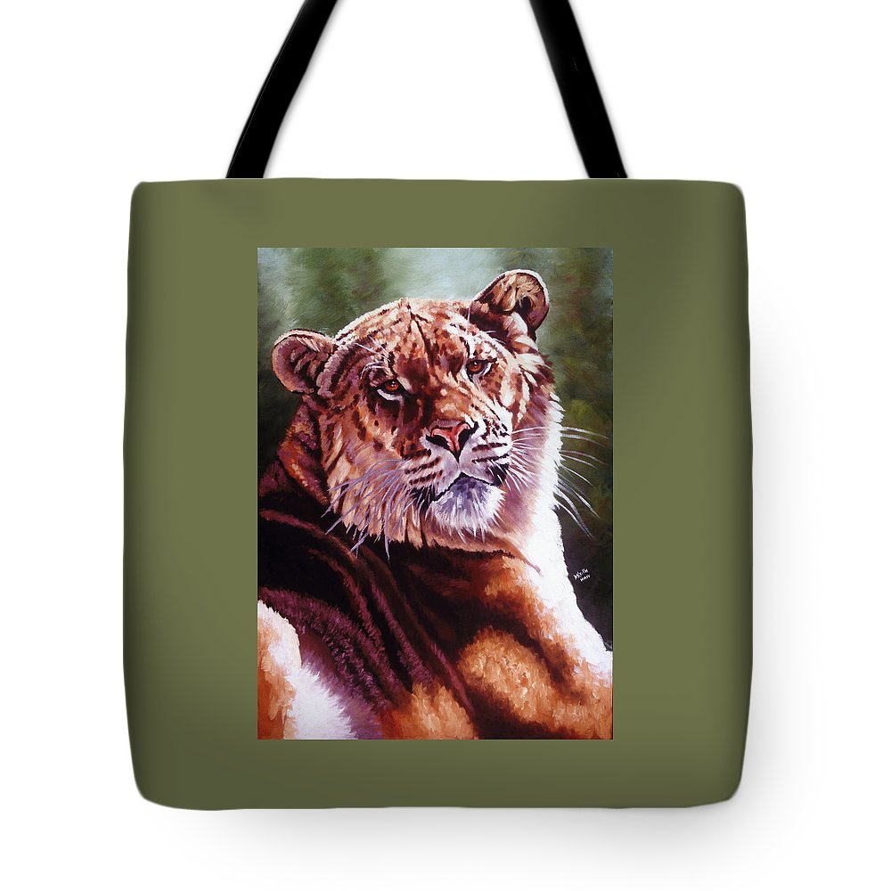 Hybrid Tote Bag featuring the painting Sophie The Liger by Barbara Keith
