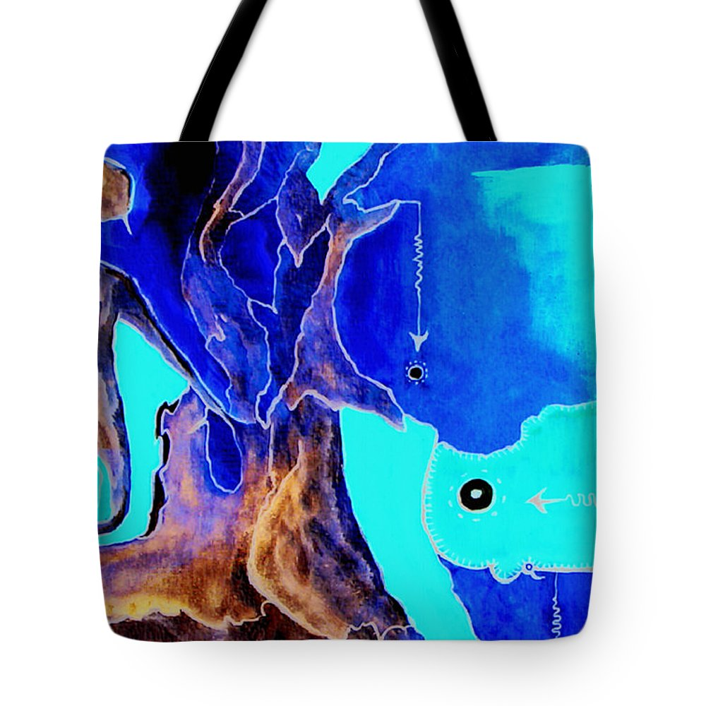 Game Direction Abstract Red Man Tote Bag featuring the painting Sophogame by Veronica Jackson