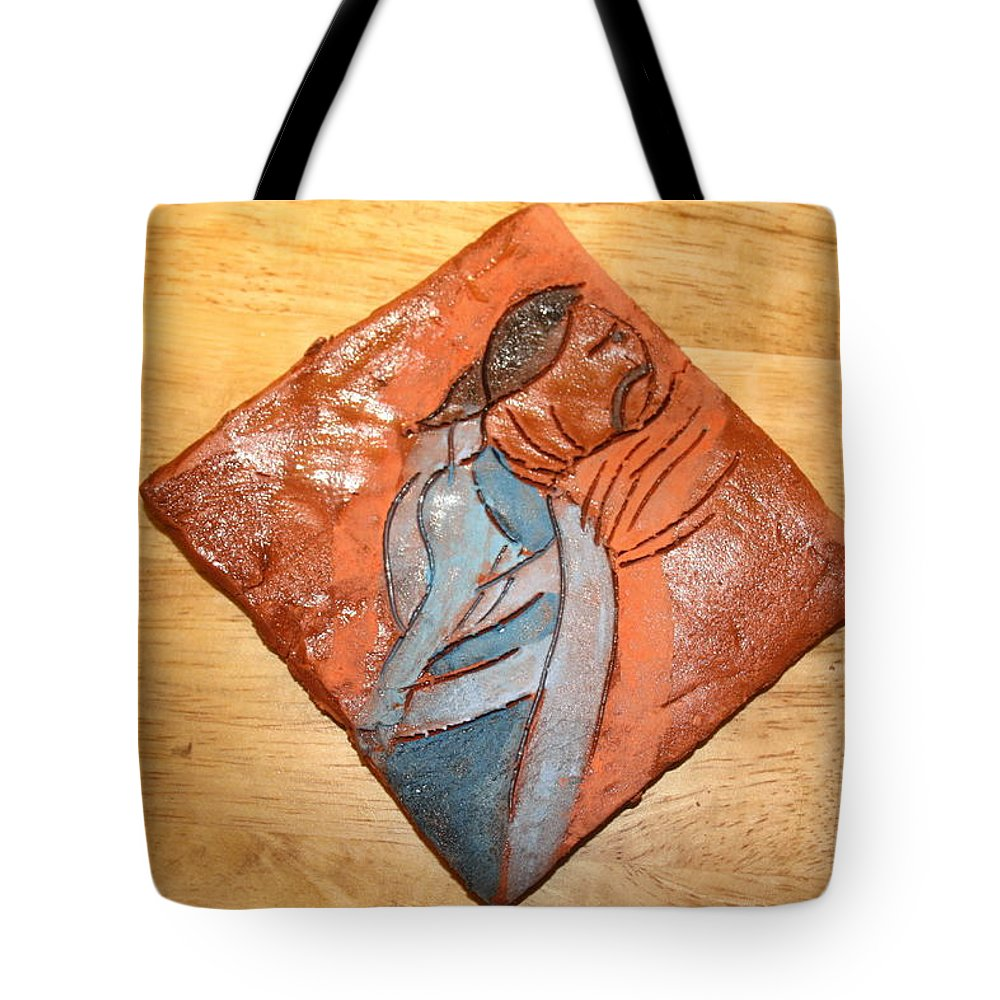Jesus Tote Bag featuring the ceramic art Soprano - Tile by Gloria Ssali