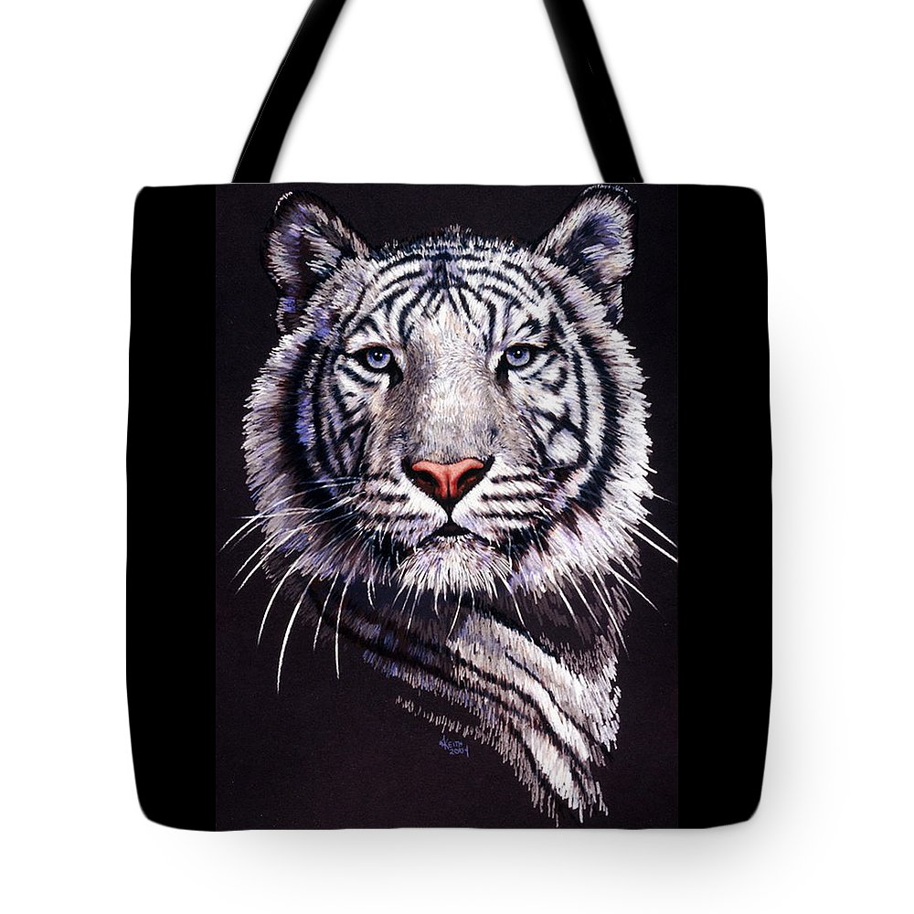 Tiger Tote Bag featuring the drawing Sorcerer by Barbara Keith
