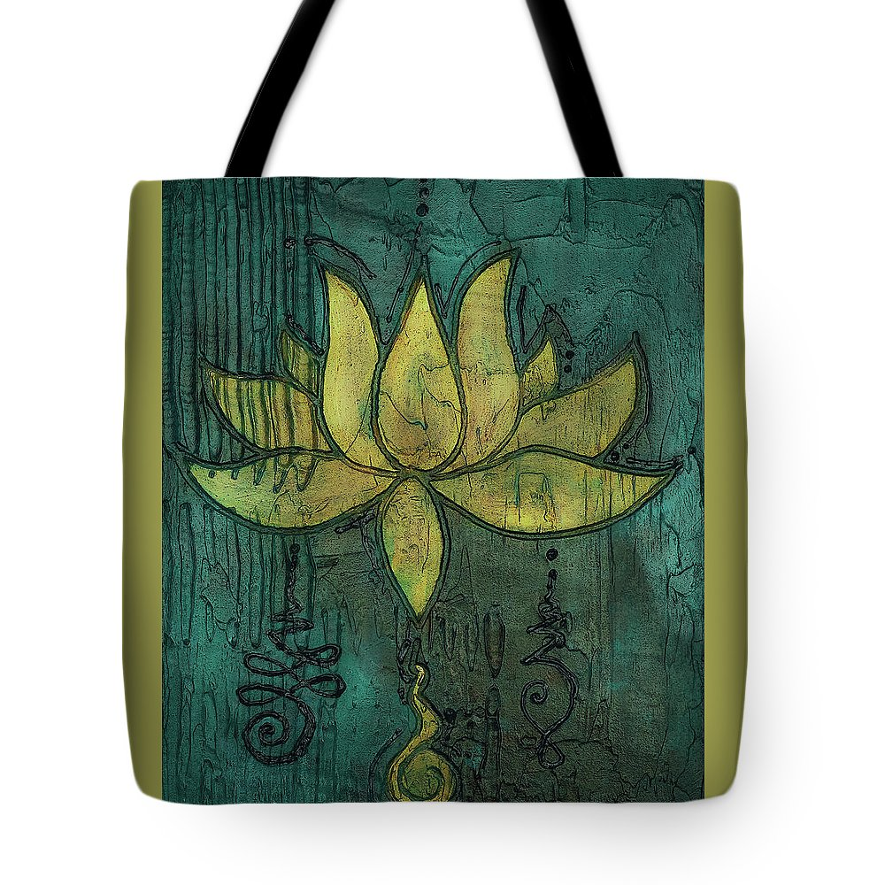Sotapanna 4 Lotus Flower Painting With Unalome Symbols Tote Bag For