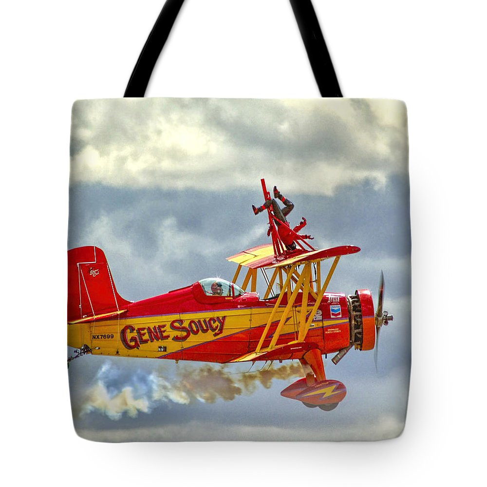 Air Show Tote Bag featuring the photograph Soucy In Flight by Diana Powell