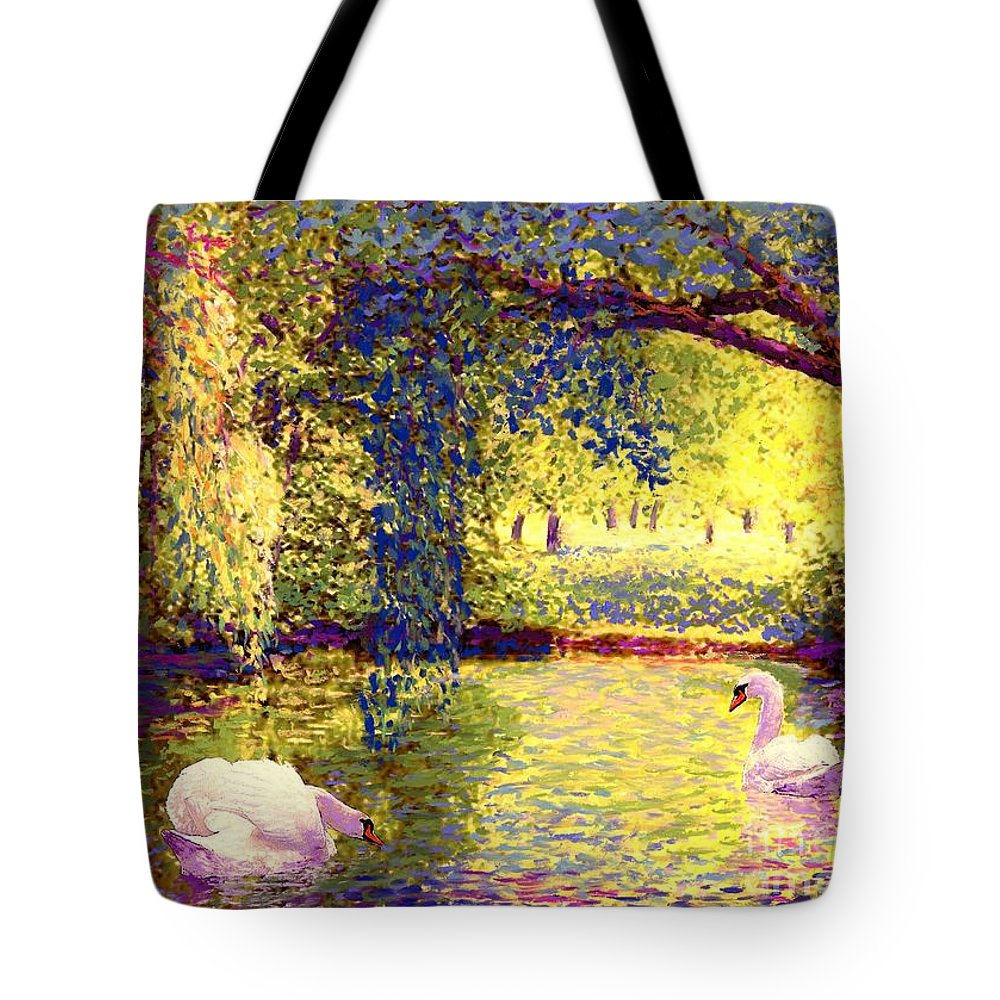 Spring Tote Bag featuring the painting Swans, Soul Mates by Jane Small