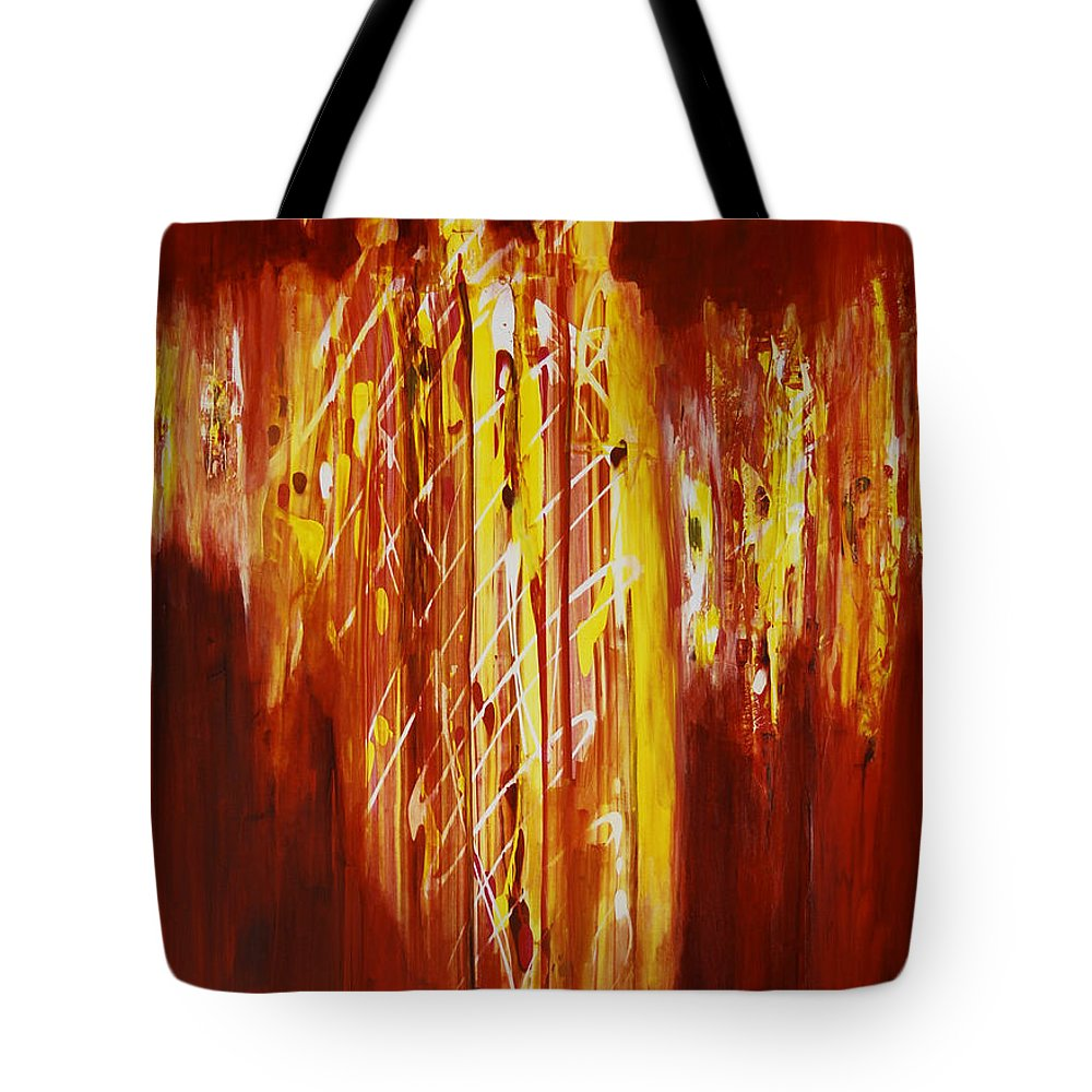 Abstract Tote Bag featuring the painting Soul Train by Tara Moorman