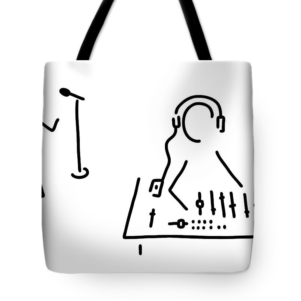 Tote bag drawing - Illustration Tote Bag Featuring The Drawing Sound Engineer Studio Admission Mixing Writing Desk By Lineamentum