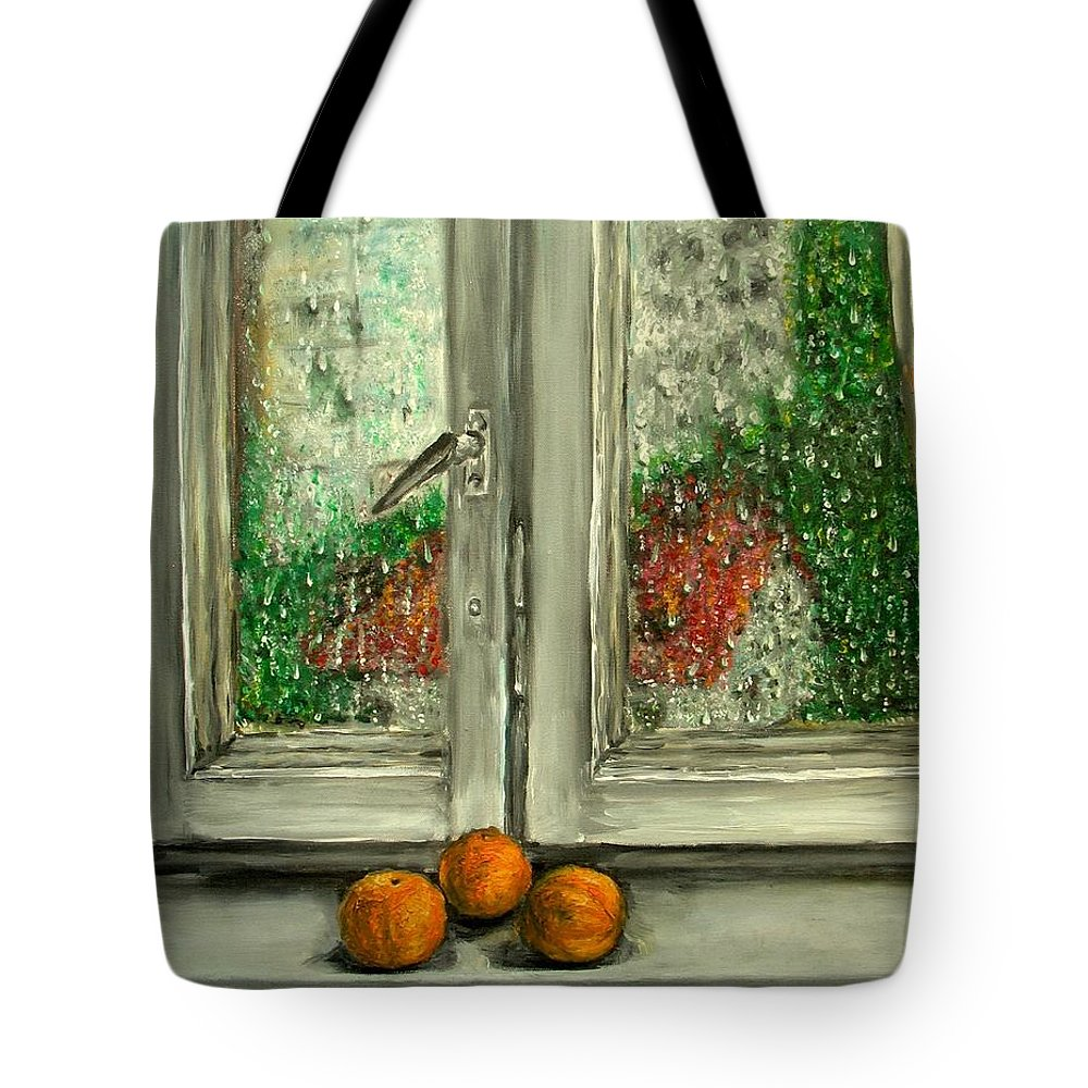Rain Tote Bag featuring the painting Sound Of Rain Oil Painting by Natalja Picugina