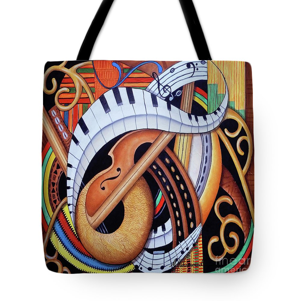 Music Tote Bag featuring the painting Sound Of Soul Strings by Marcella Muhammad