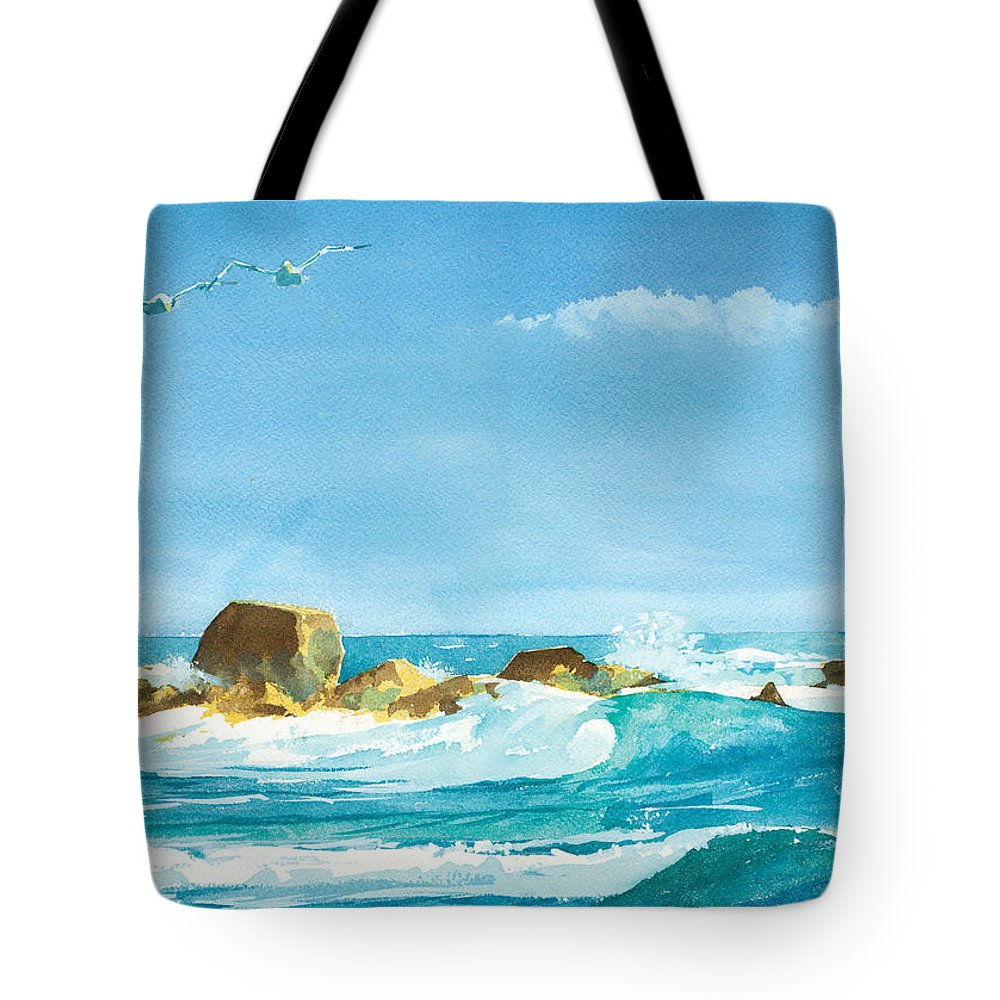 Waves Tote Bag featuring the painting Sound Of Surf by Ray Cole