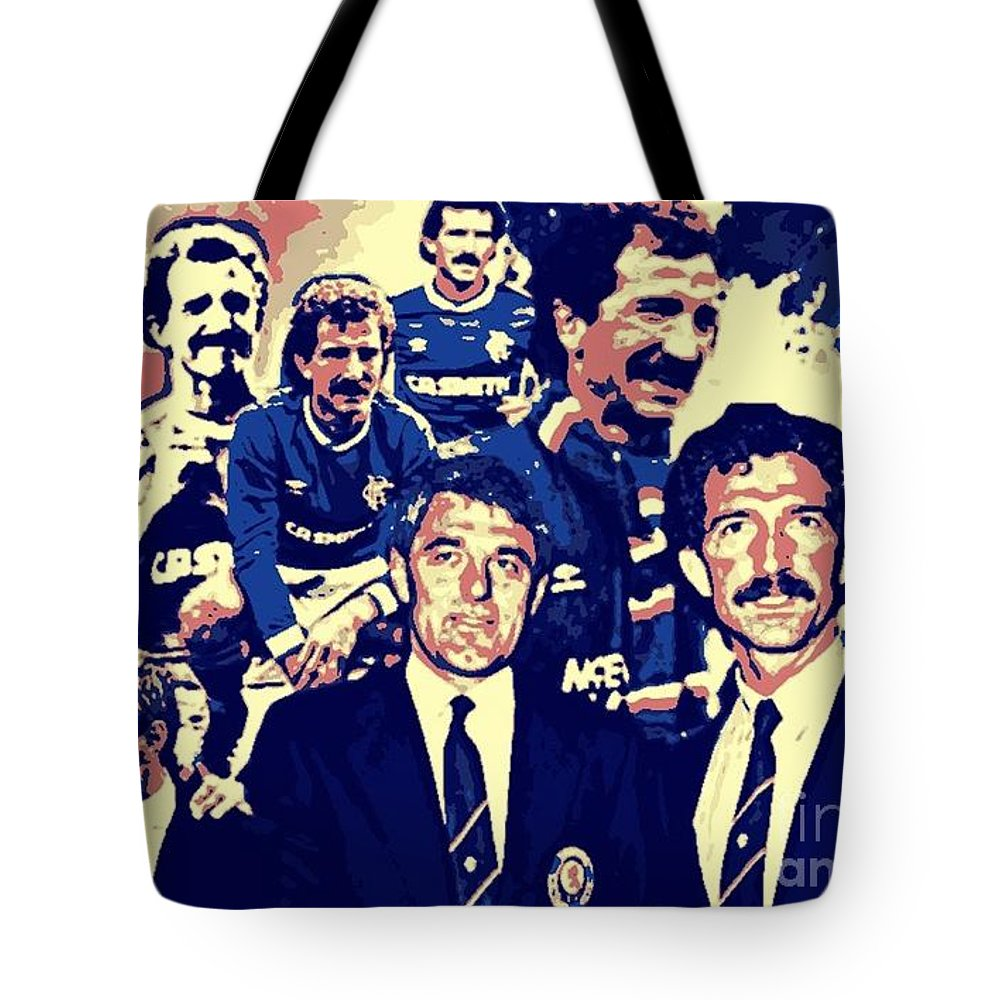 Rangers Art Tote Bag featuring the digital art Souness And Smith The New Era by Broomloan Art