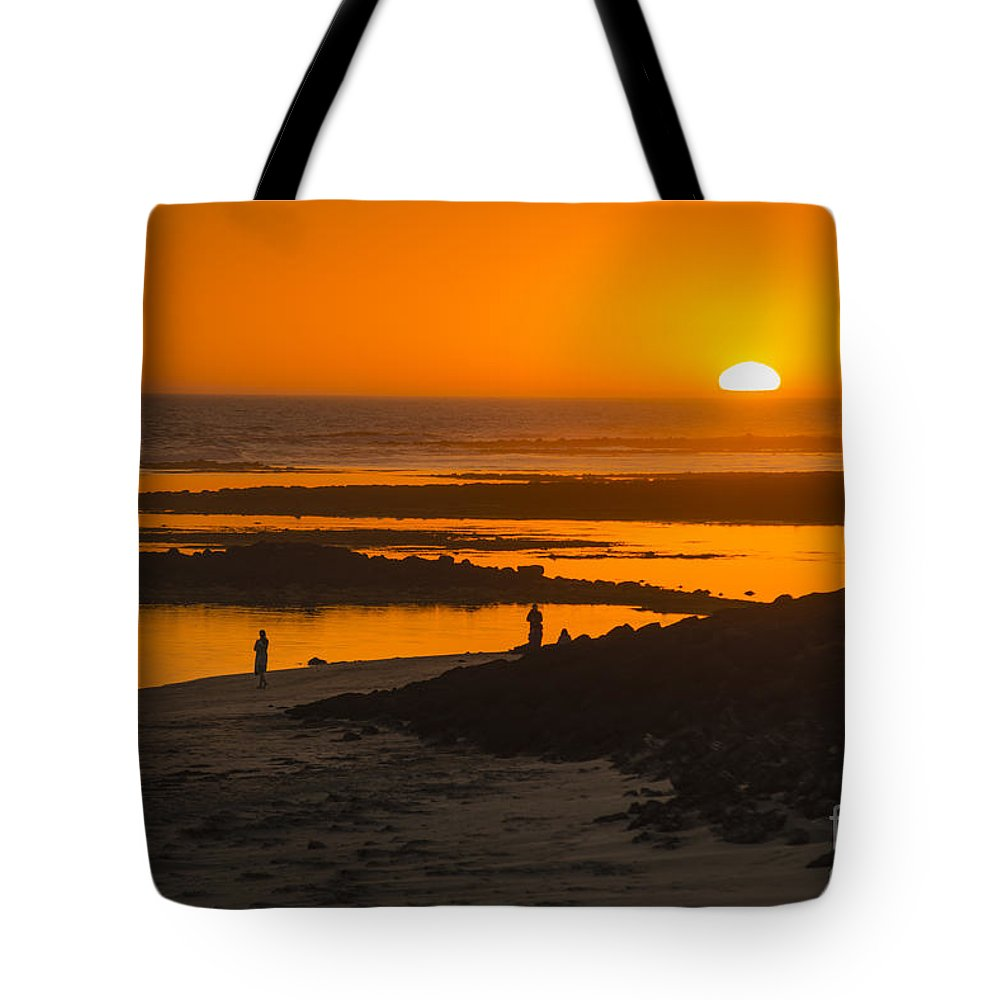 Port Fairy Sunset Seaside South Beach Victoria Fishing Holiday Tourist Town Beach Swim Surf Sand Sun Waves Pretty Vacation Destination Tourists Tourism Tourist Tour Visitors Harbour Australia Harbor Moyne Rock Pool Tote Bag featuring the photograph South Beach Sunset by Ray Warren