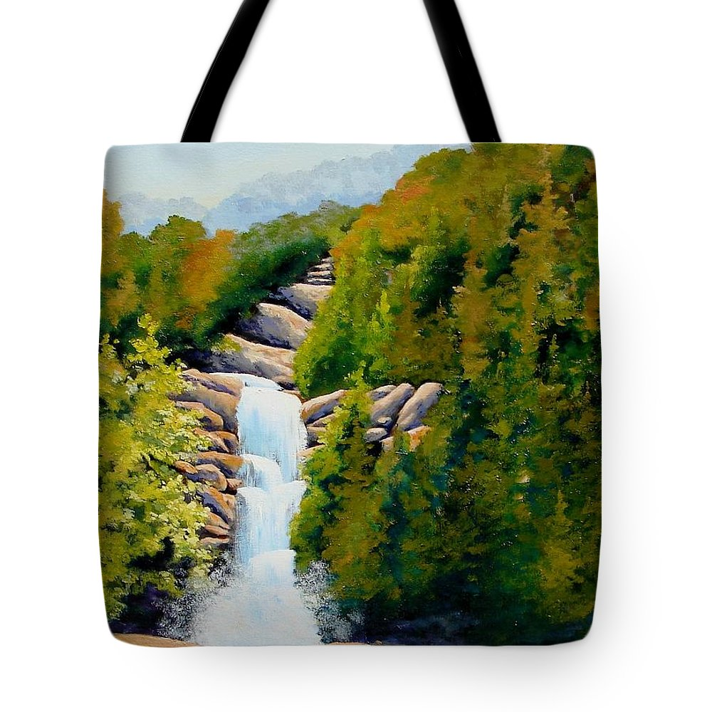 South Carolina Tote Bag featuring the painting South Carolina Waterfall by Jerry Walker