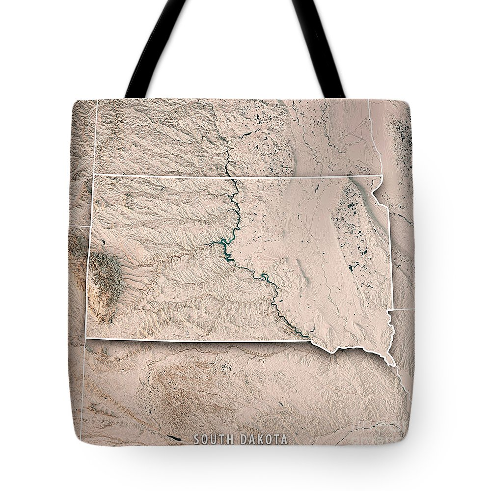South Dakota Tote Bag featuring the digital art South Dakota State Usa 3d Render Topographic Map Neutral Border by Frank Ramspott