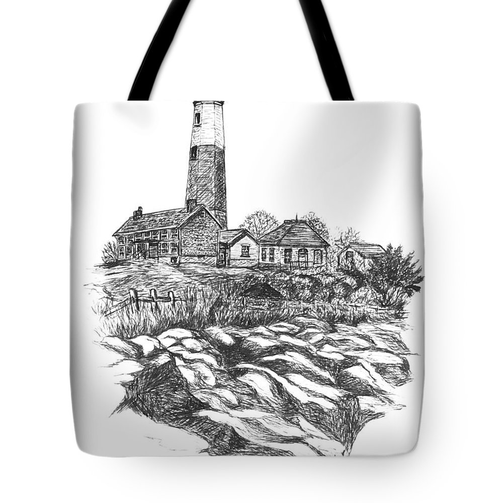 Lighthouse Tote Bag featuring the painting South Fork Lighthouse L I N Y Bw by Carol Wisniewski
