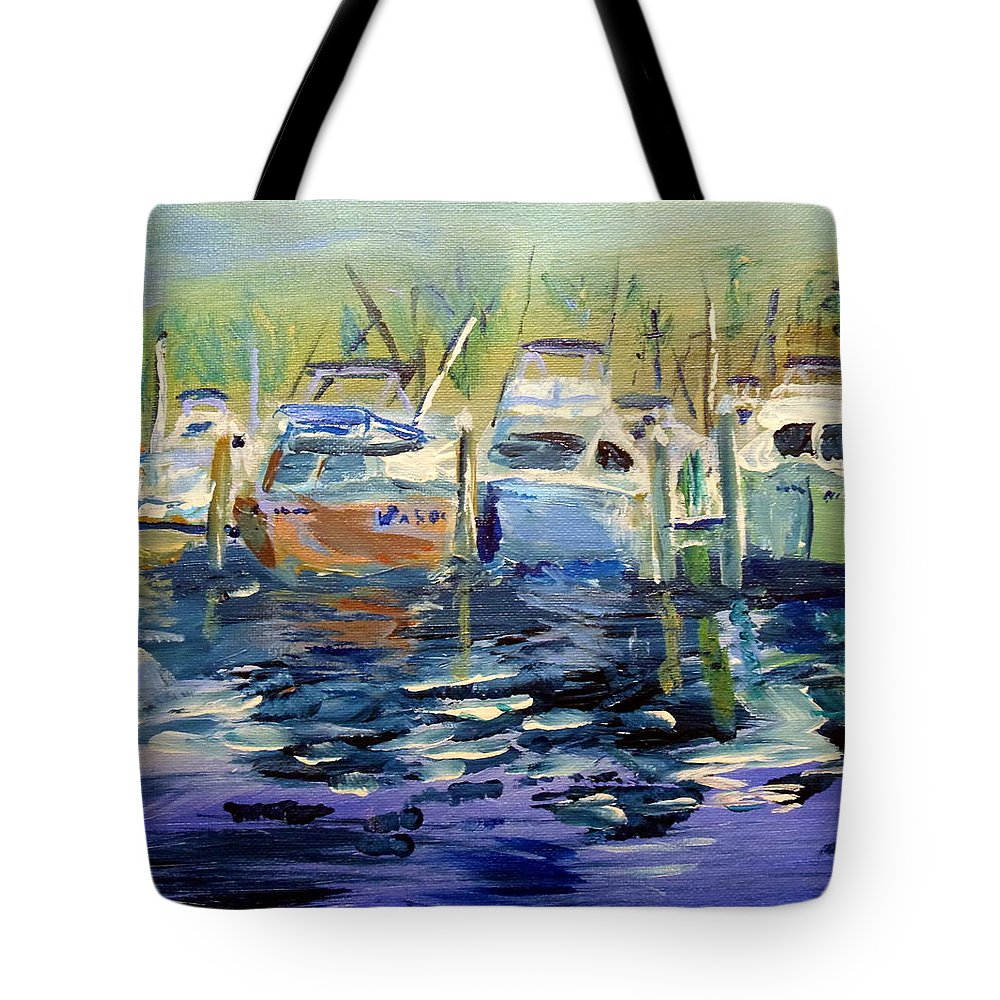 Southport Nc Tote Bag featuring the painting South Harbor Dawn by Max Bowermeister