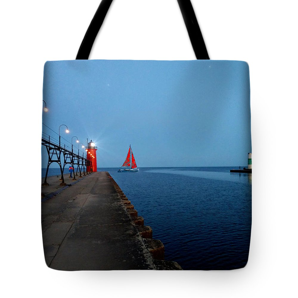 South Haven Tote Bag featuring the photograph South Haven Lighthouse Pier by Michael Rucker