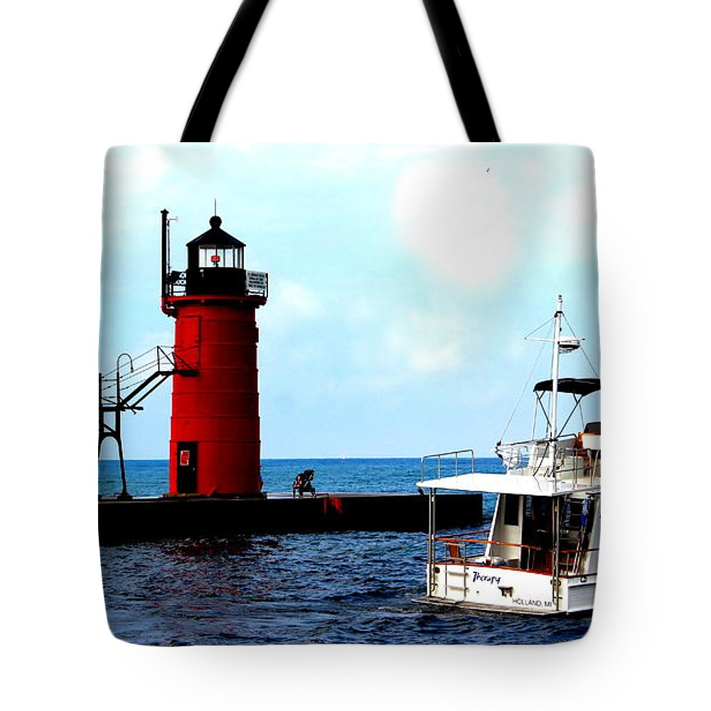 South Haven South Pier Lighthouse Tote Bag featuring the photograph South Haven Michigan Lighthouse By Earl's Photography by Earl Eells a