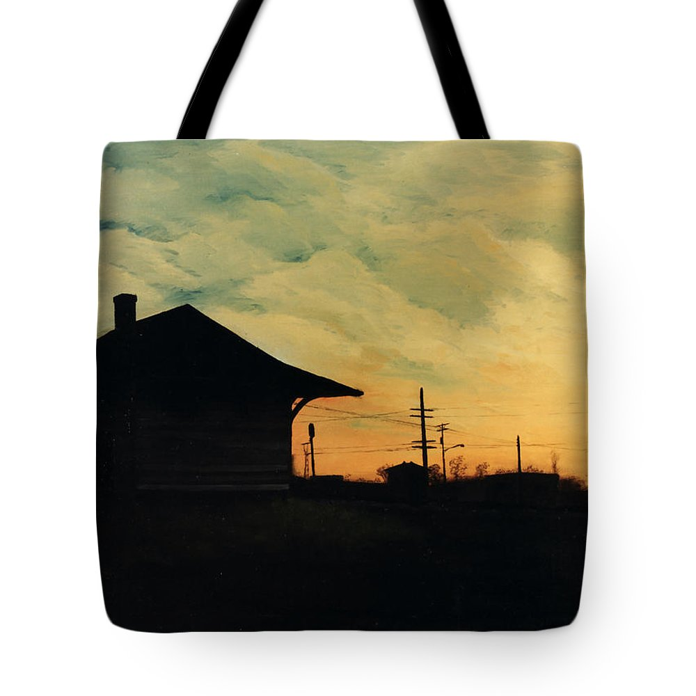 Landscape Tote Bag featuring the painting South Holland Train Station by Rachel Christine Nowicki