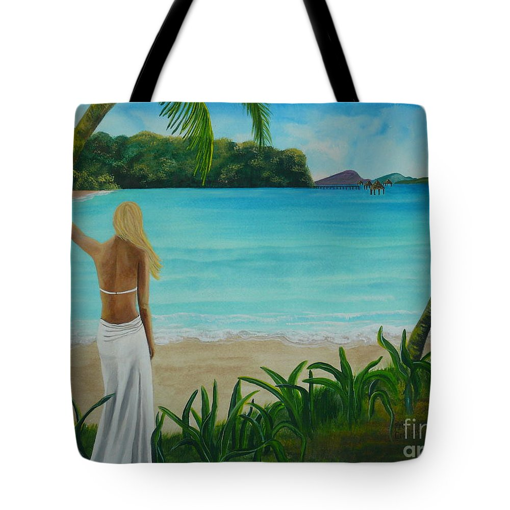 Tropical Tote Bag featuring the painting South Pacific Dreamin by Kris Crollard