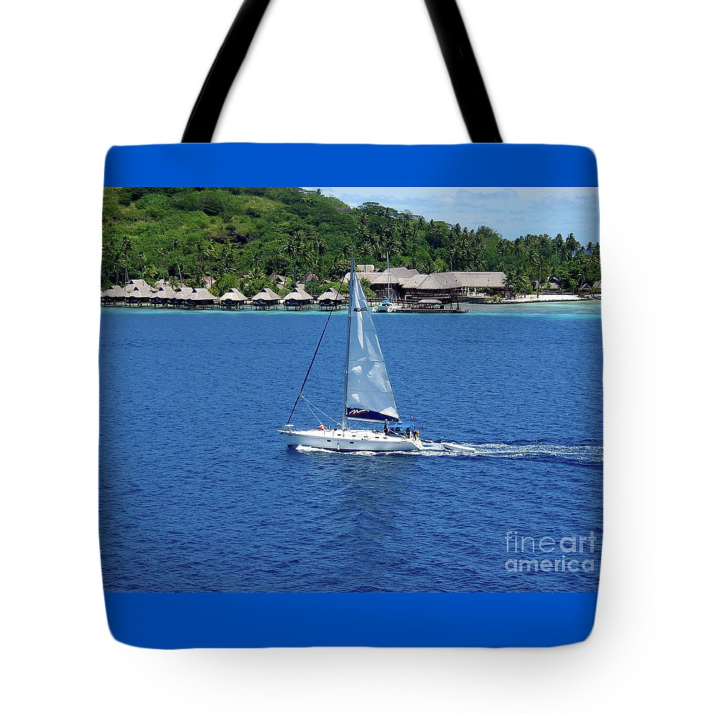 South Sea Huts Tote Bag featuring the photograph South Sea Sail by Phyllis Kaltenbach