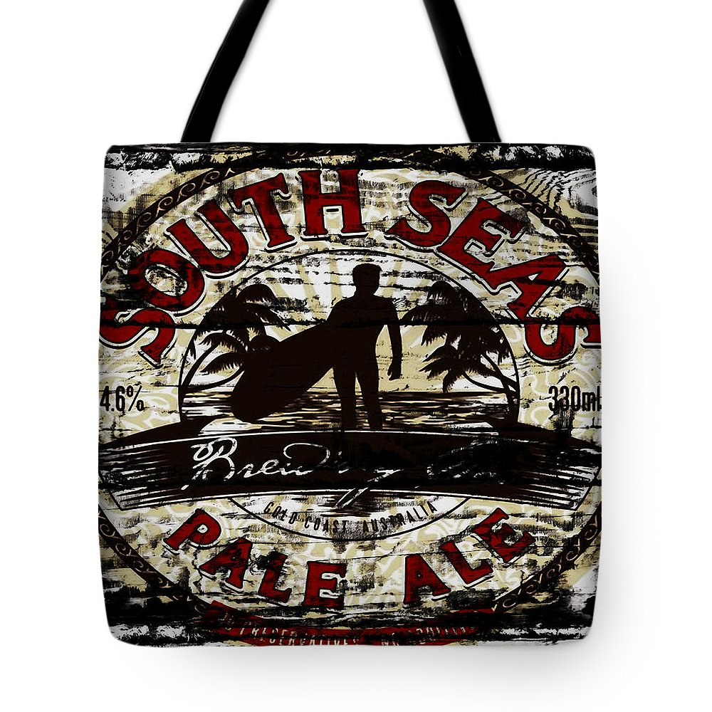 South Seas Pale Ale Tote Bag featuring the mixed media South Seas Pale Ale Sign by Brian Reaves