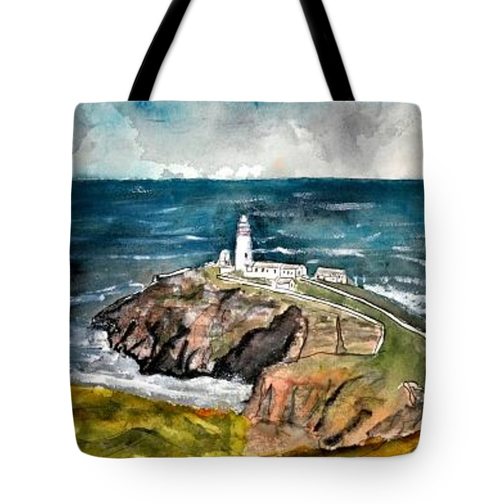 South Stack Lighthouse Tote Bag featuring the painting South Stack Lighthouse by Derek Mccrea