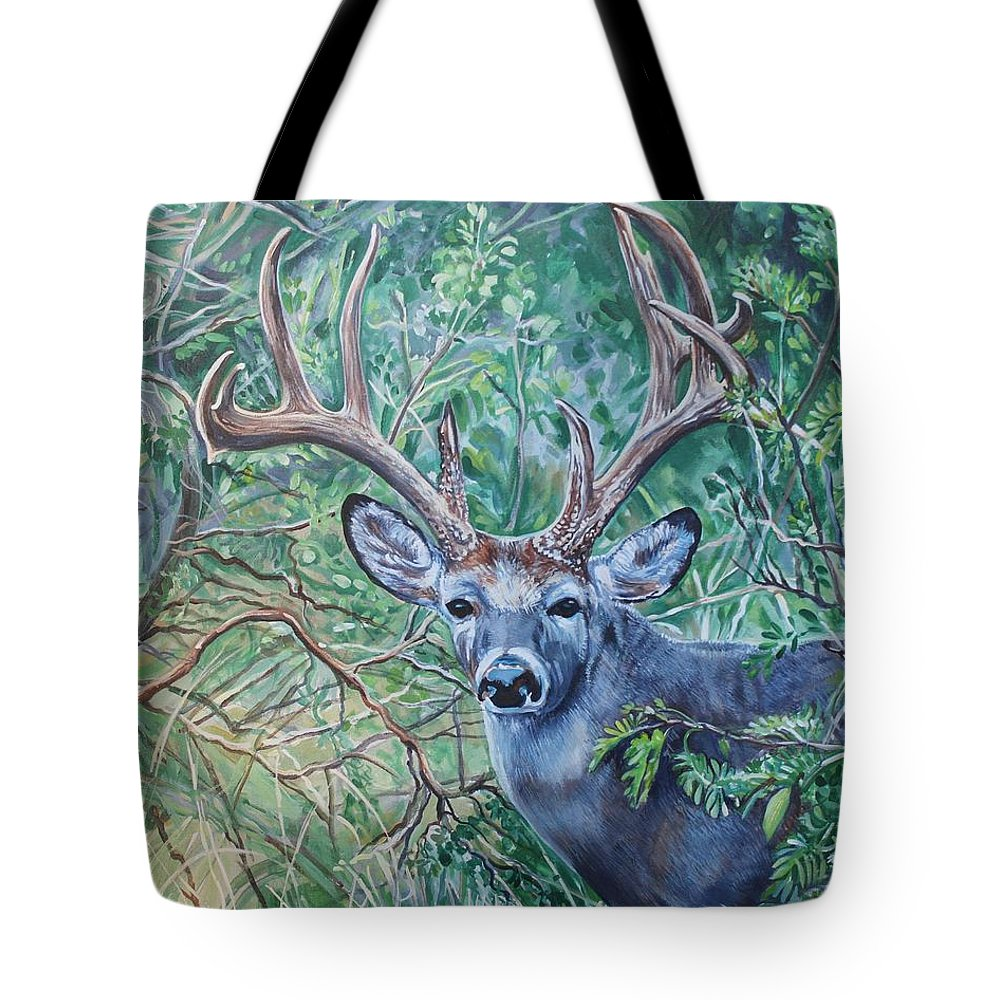 Deer Tote Bag featuring the painting South Texas Deer In Thick Brush by Diann Baggett