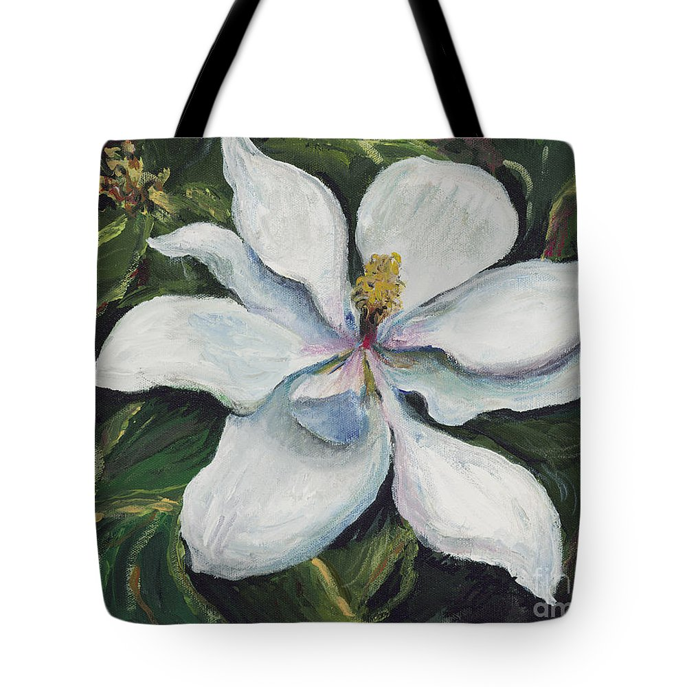 Green Tote Bag featuring the painting Southern Beauty by Nadine Rippelmeyer