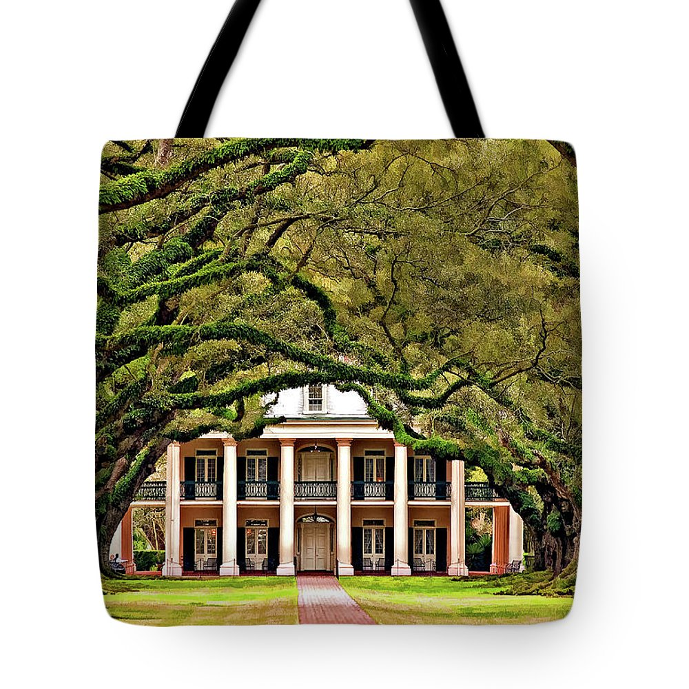 Oak Alley Plantation Tote Bag featuring the photograph Southern Class Painted by Steve Harrington