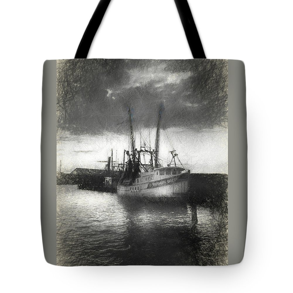 Shrimp Tote Bag featuring the mixed media Southern Grace by Marvin Spates