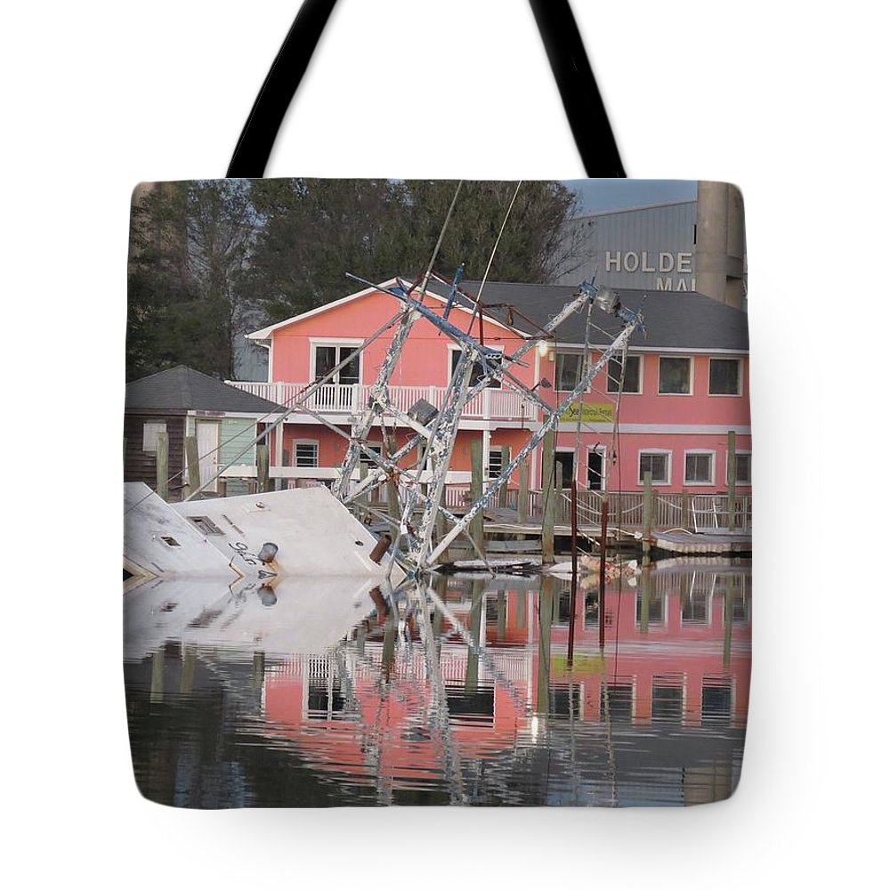 Shrimp Boat Tote Bag featuring the photograph Southern Lady At Rest by Becky Haines