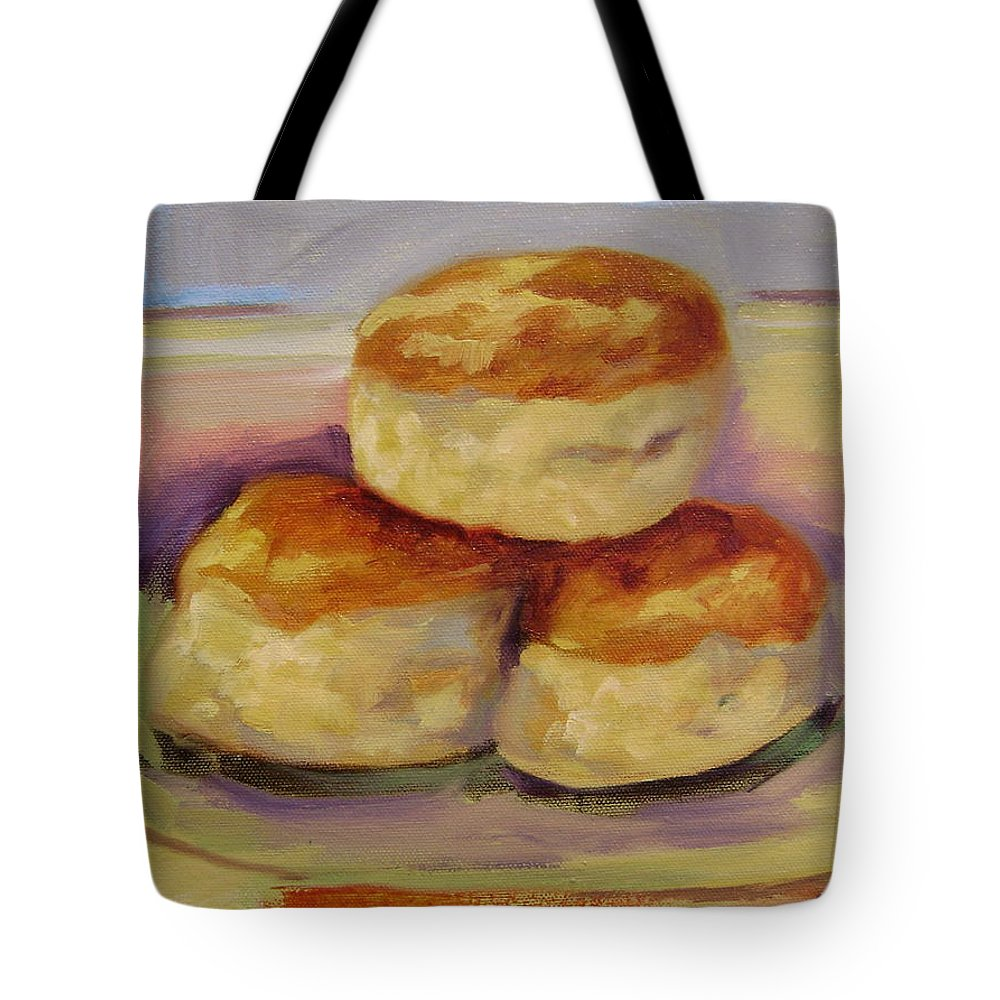 Biscuits Tote Bag featuring the painting Southern Morning Fare by Ginger Concepcion