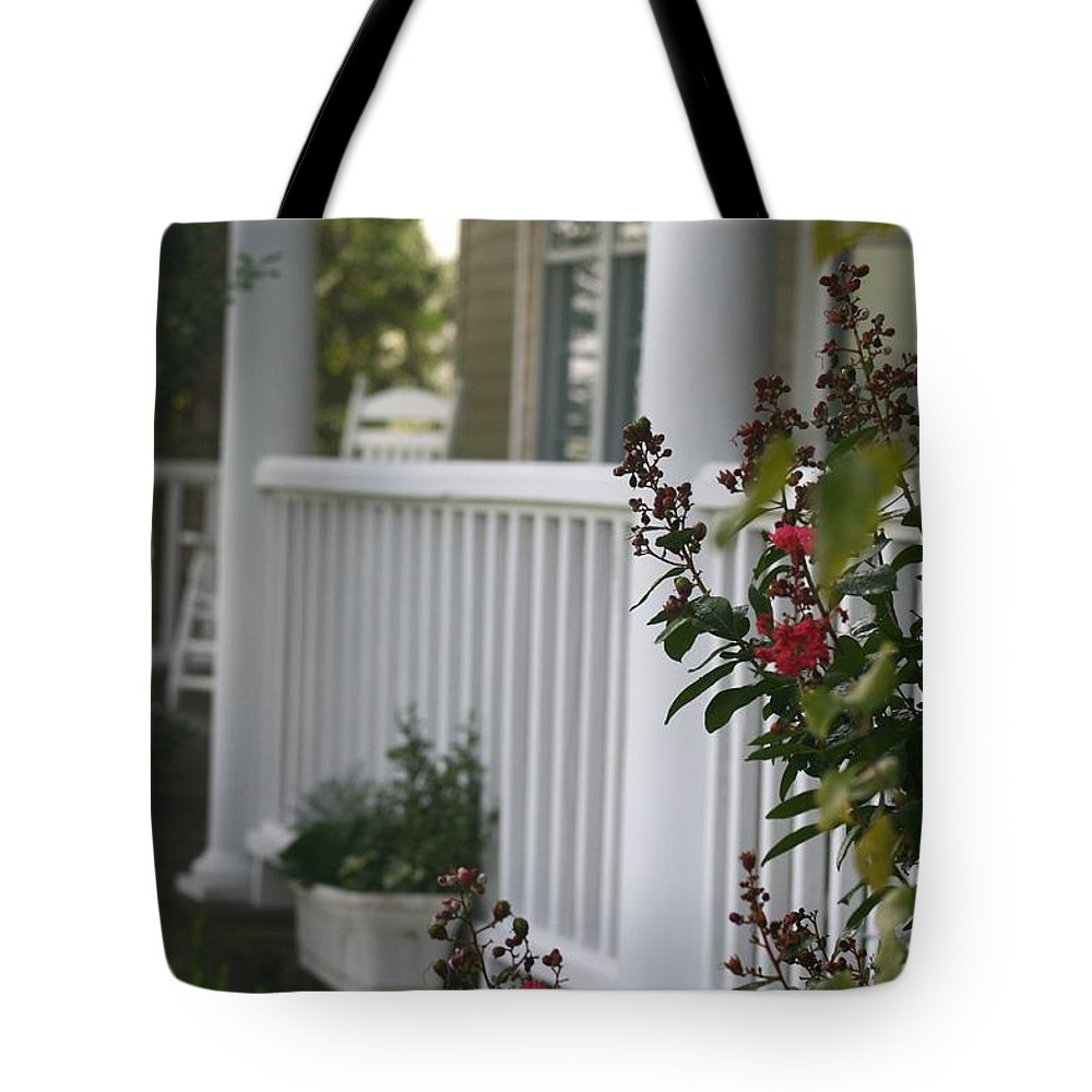 Summer Tote Bag featuring the photograph Southern Summer Flowers And Porch by Nadine Rippelmeyer
