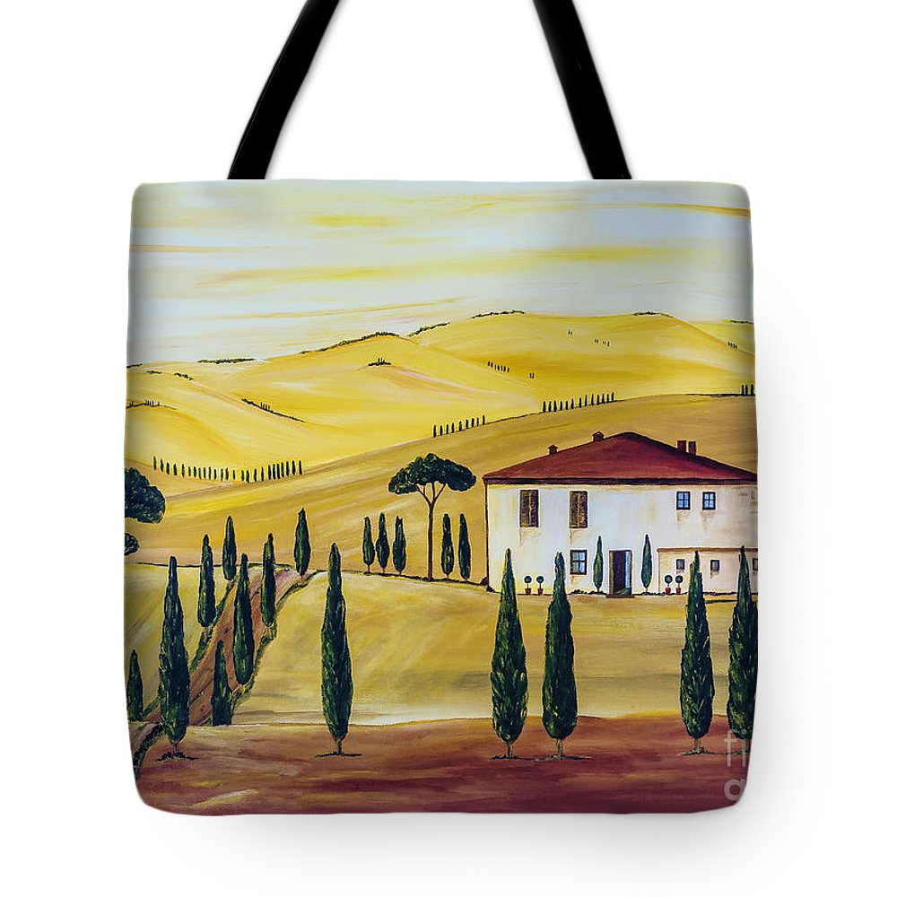 Sunrise Tote Bag featuring the painting Southern Tuscany by Christine Huwer