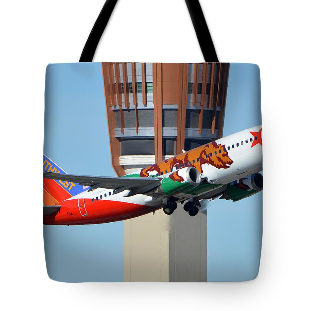 Airplane Tote Bag featuring the photograph Southwest Boeing 737-3h4 N609sw California One Phoenix Sky Harbor January 21 2016 by Brian Lockett