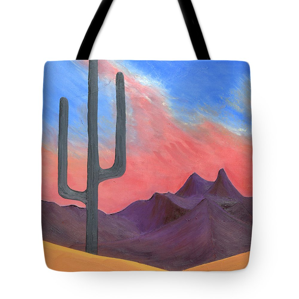 Cactus Tote Bag featuring the painting Southwest Scene by J R Seymour