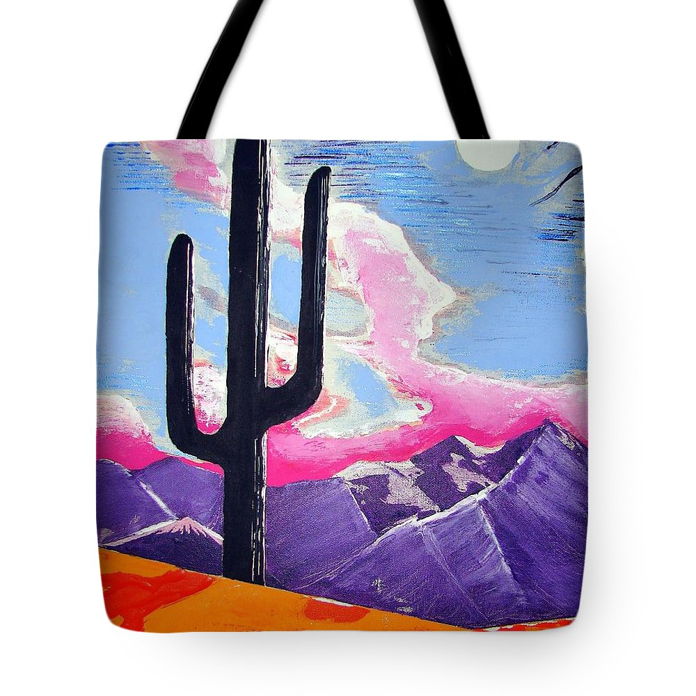 Cactus Tote Bag featuring the painting Southwest Skies 2 by J R Seymour