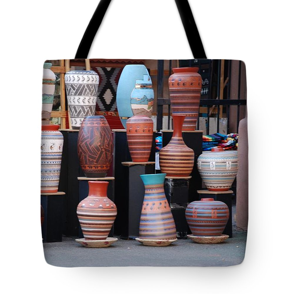 Southwestern Tote Bag featuring the photograph Southwestern Potery by Rob Hans