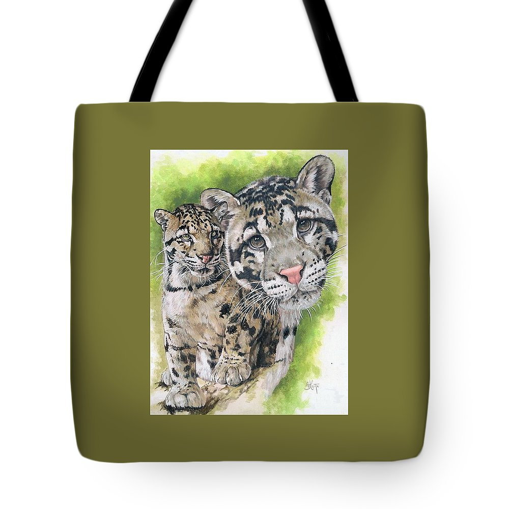 Clouded Leopard Tote Bag featuring the mixed media Sovereignty by Barbara Keith