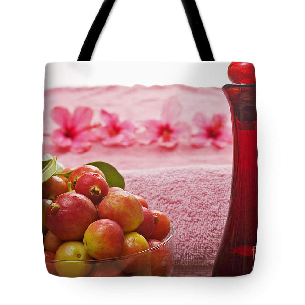 Attractive Tote Bag featuring the photograph Spa Elements by Tomas del Amo - Printscapes